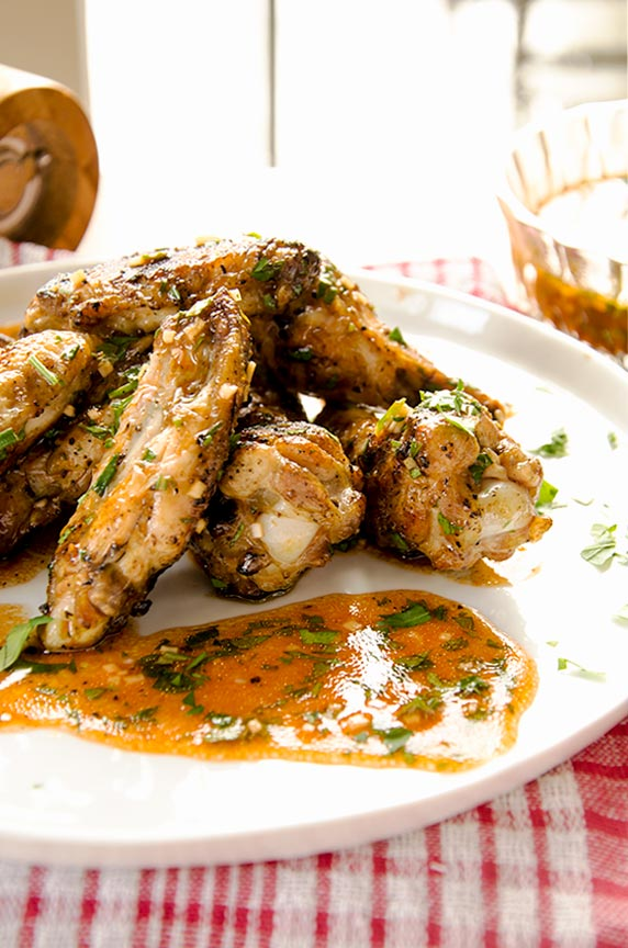 Righteous lemon garlic chicken wings are ready in no time flat.