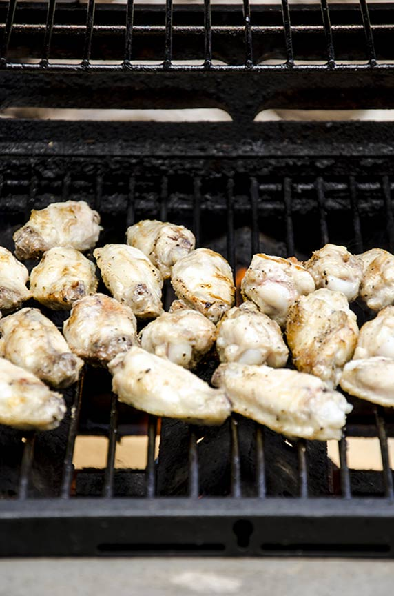 My pesto chicken wings are grilled.