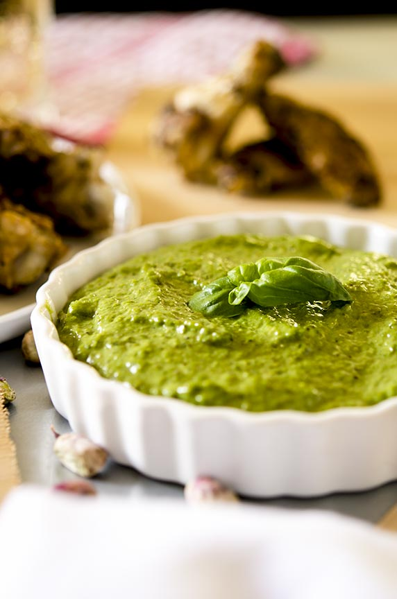 Pistachio pesto pairs perfectly with wings.