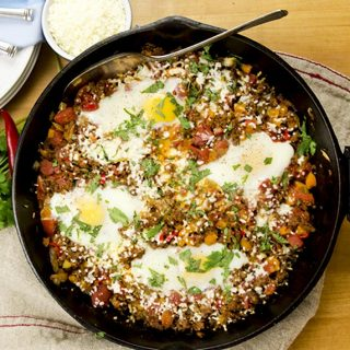 spicy chorizo egg skillet
