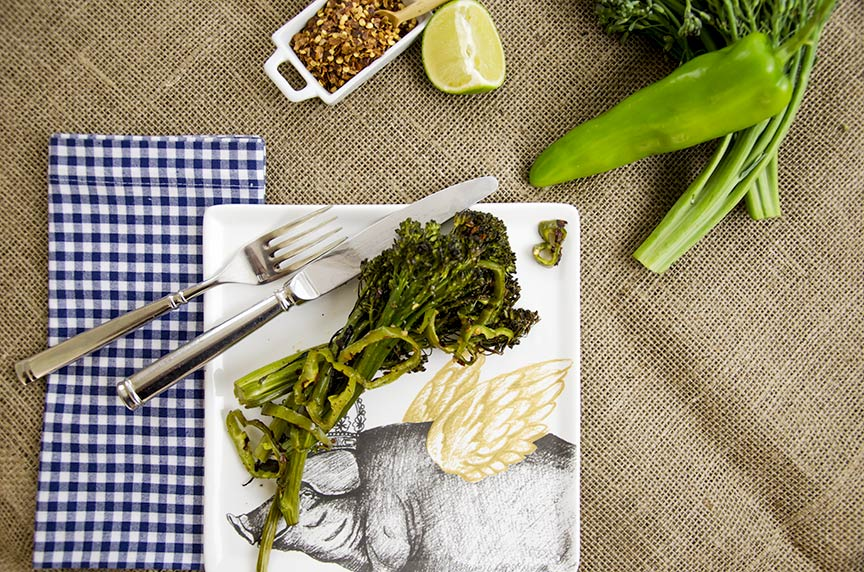 low carb spicy roasted broccolini