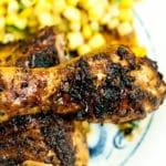 Chipotle chicken recipe closeup of marinated chicken leg