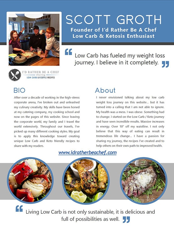 front page of I'd Rather Be A Chef Low Carb Media Kit for Food Blog