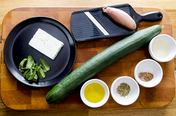 ingredients for cucumber feta salad