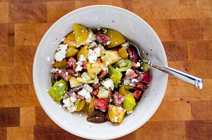 combined ingredients for tomato feta salad recipe