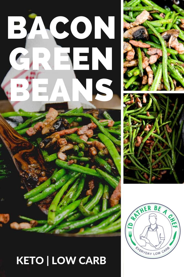 Low carb green beans and mushrooms recipe with bacon